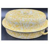 Yellow Spatter Enamelware Baking Pan w/Lid