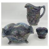3pc Carnival Glass Iridescent Pitcher & Bowls