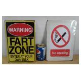 2 plaques décoratives - Warning FartZone et no