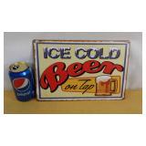 Enseigne décorative en métal Ice cold beer on tap