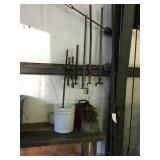 Assorted sized wood clamps, fuel can & heater