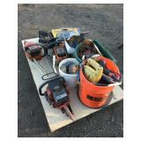 Pallet with chainsaws, grinder stones & disks