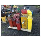 Pallet with fuel cans, rag bins