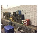 Bins with assorted Hardware, Nuts, Bolts, Fittings
