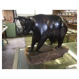 CARVED WOOD COW