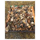 ASSORTED ROCKS, MINERALS, PETRIFIED WOOD