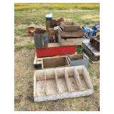ASSORTED WOOD BOXES & WIRE CRATES