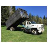 FORD F750 W/ DUMP BED, REMOVABLE SIDE PANELS