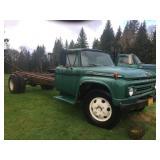 1962 FORD F600 CAB W/ CHASSIS, V-8 292 CID