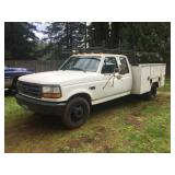 1995 FORD F350, 7.5 L GAS, UTILITY BOX & RACK