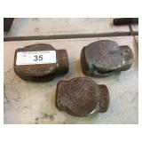 (3) BLACKSMITH HAMMER HEADS