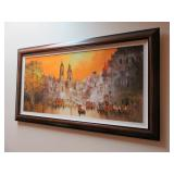 City Scape Framed Oil Painting