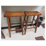 (2) Dining Style Wood Stools