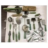 Group Green Handled Utensils