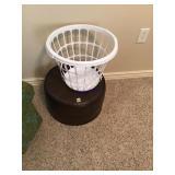 Leather footstool, laundry basket, three TV
