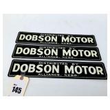 "3 Dobson Motor Enamel Placards 16 1/2"" x 3 1/4"""