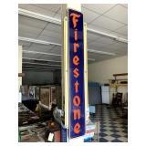"""Firestone Enamel Sign - 15"""" wide, 71"""" long"""
