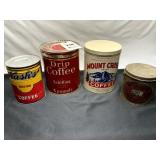 3 Large Coffee Cans & Lard Can