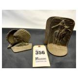 Set of Bronze Bookends w/ Indian on Horse, Small