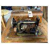 New Home Sewing Machine in Wooden Case