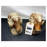 Set of Wooden Carved Bighorn Sheep Bookends