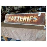 """""""Batteries"""" Sign in Angle Iron Frame"""
