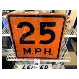 "Vitnage Orange 25 MPH Sign - 18"" x 18"""