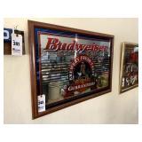 "Framed Budweiser Advertising Mirror - 38"" x 26"""