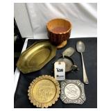 Vintage Metal Ashtrays, Old Spoons, Brass Tray