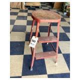 Wood & Cast Iron Piano Stool, Vintage Metal Stool