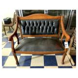 Wood and Leather Bench