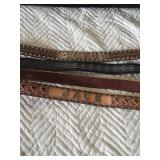 Size 38 leather belts silver lettering