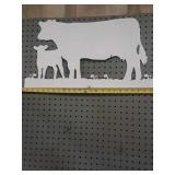 Metal cutout cow sign