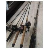 4 rods and reels and extra rods