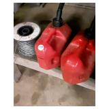 Gas cans electric fence wire