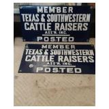 2 more porcelain Texas cattle raiser signs