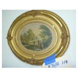Oval Antique Painting with Frame