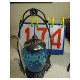 Blue Vase with Top and Pewter Stand