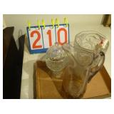 3 Piece set of Glass ware, Pitcher with yellow