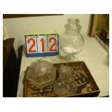 3 Pieces, Candy Dishes and Etched Glass Pitcher