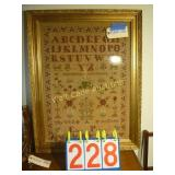 """Gold Framed Cross Stitched Sampler - 25""""x32"""""""