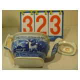 British Teapot - Blue Flower and Animal Scenery