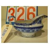 Flow Blue - Gravy Bowl with Gold Trim