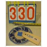 English Blue Plate with Blue Leaf Design