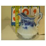 English Blue Floral Pitcher