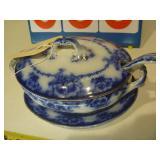 English Blue Gravy Bowl, Blue Floral and Gold