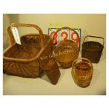5 Wicker Baskets - Various Sizes - Mixed Lot