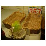 Baskets - 2 Wicker Trays and 1 Wicker Basket