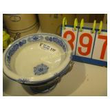 Blue Twill - 2 Handle Pedistal Fruit Bowl - 4