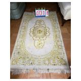 India Rug - Handwoven Wool - White & Gold -